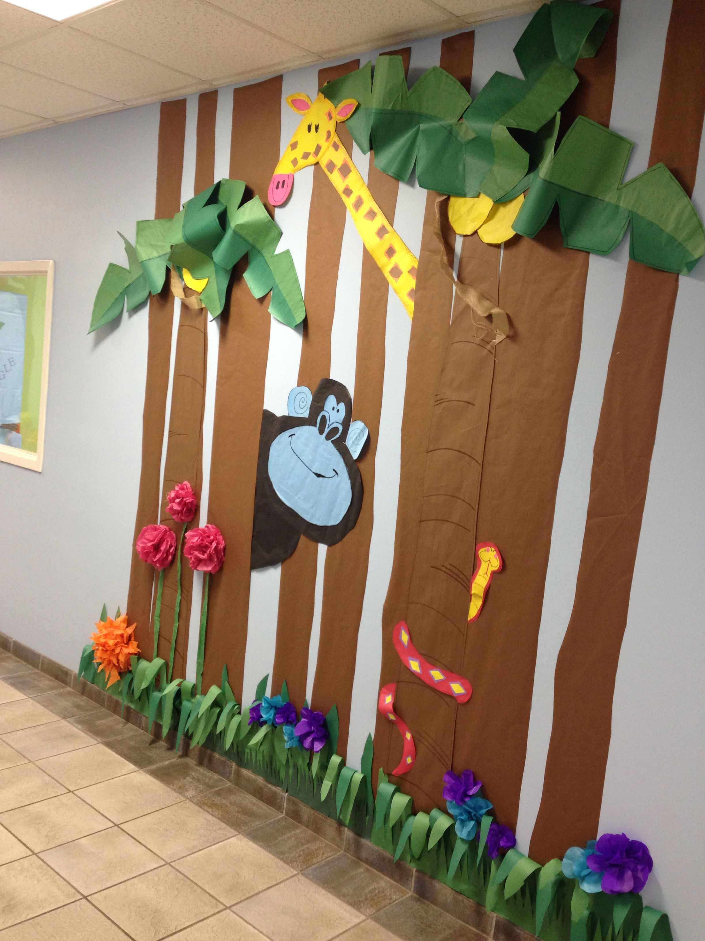 Rainforest Classroom Decoration Ideas ~ Giraffe and gorilla rumble in the jungle preschool hall