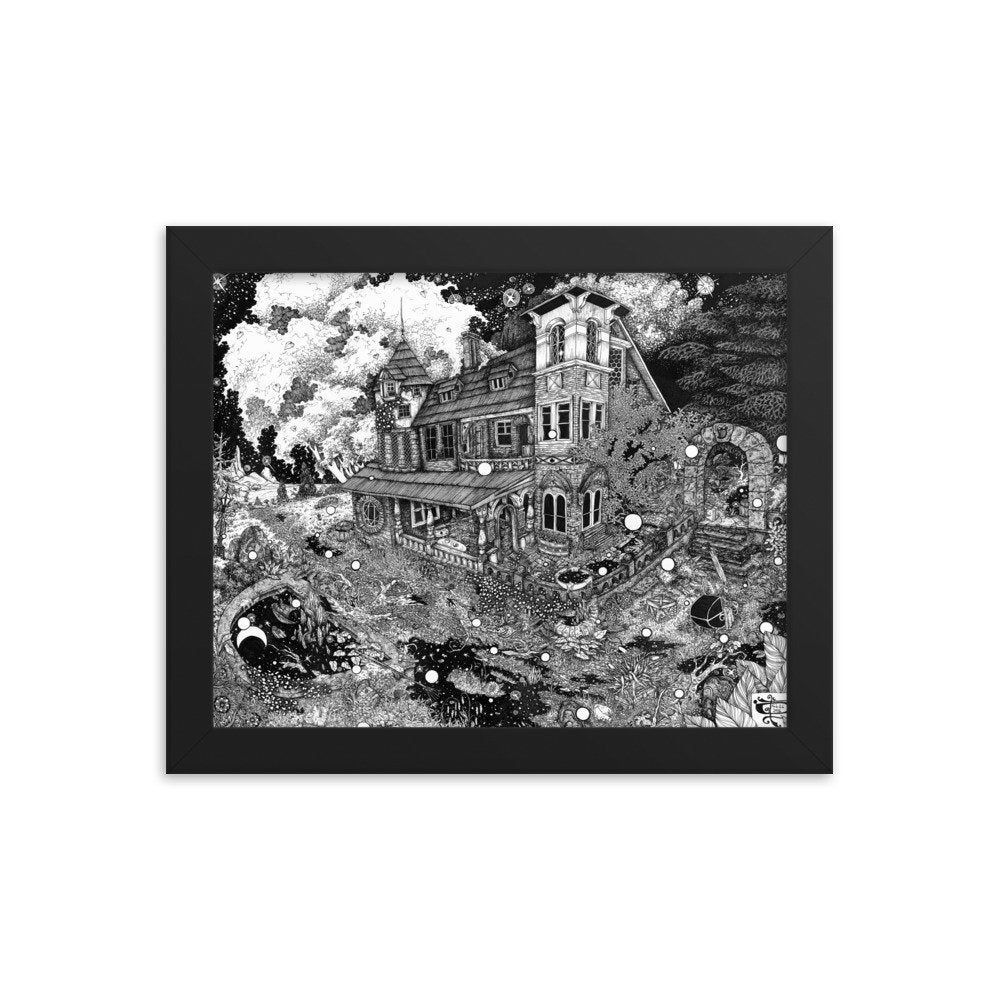 Hear You Calling in the Dead of Night Framed poster abandoned mansion home haunted night overgrown - #Abandoned #Calling #dead #Framed #haunted #Hear #Home #Mansion #night #Overgrown #Poster