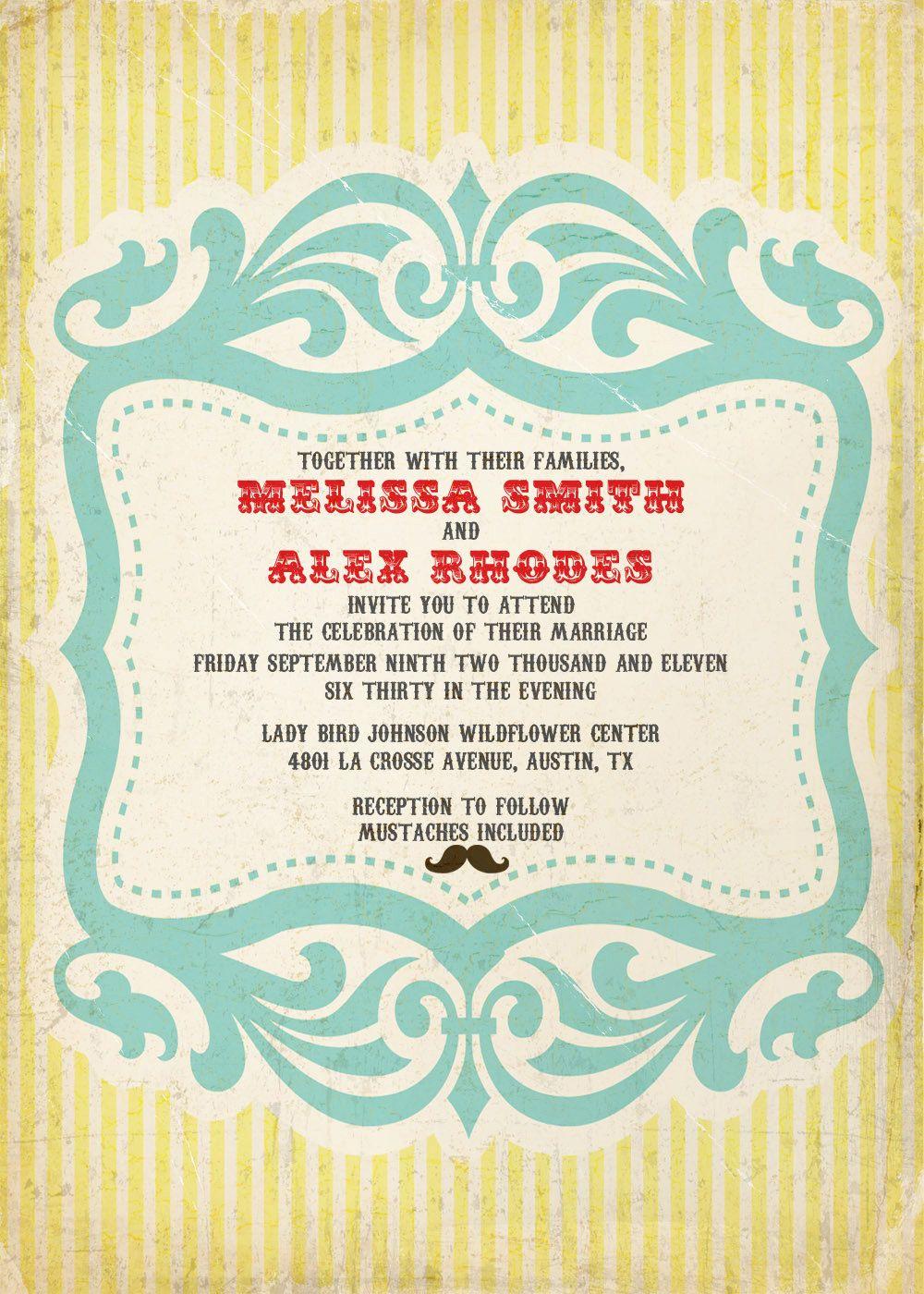 wedding invitation sample set: circus, carnival, retro, vintage ...