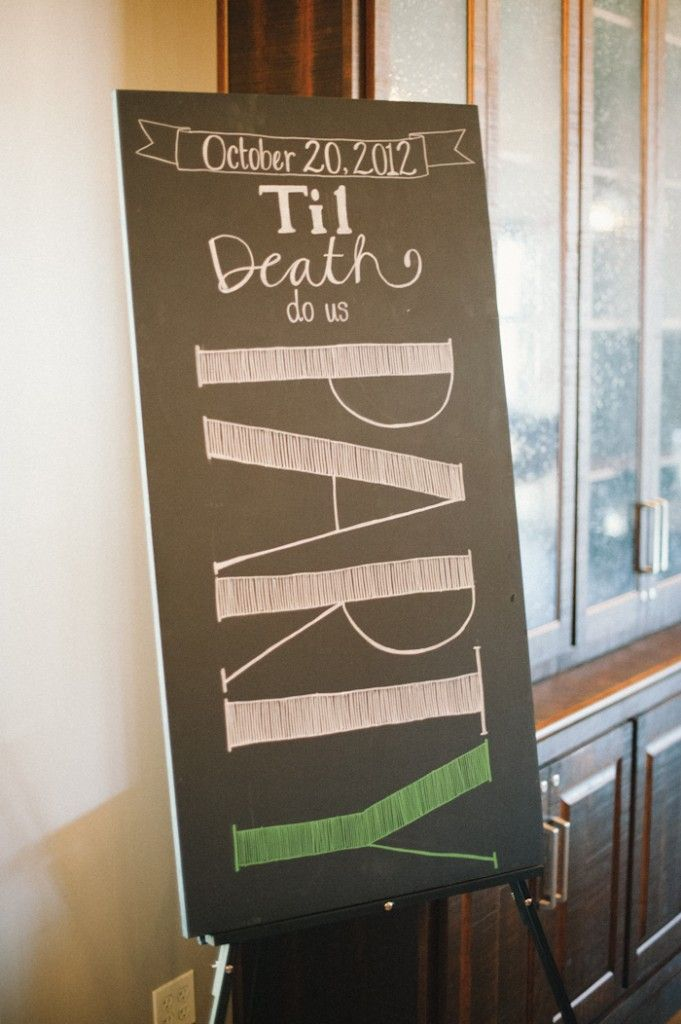 """Til Death Do Us PARTY"" Chalkboard Detail.   Photo by Brett Heidebrecht."