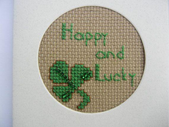 Cross Stitch St Patrick Happy and Lucky by FlossFlowersandCraft, $4.50