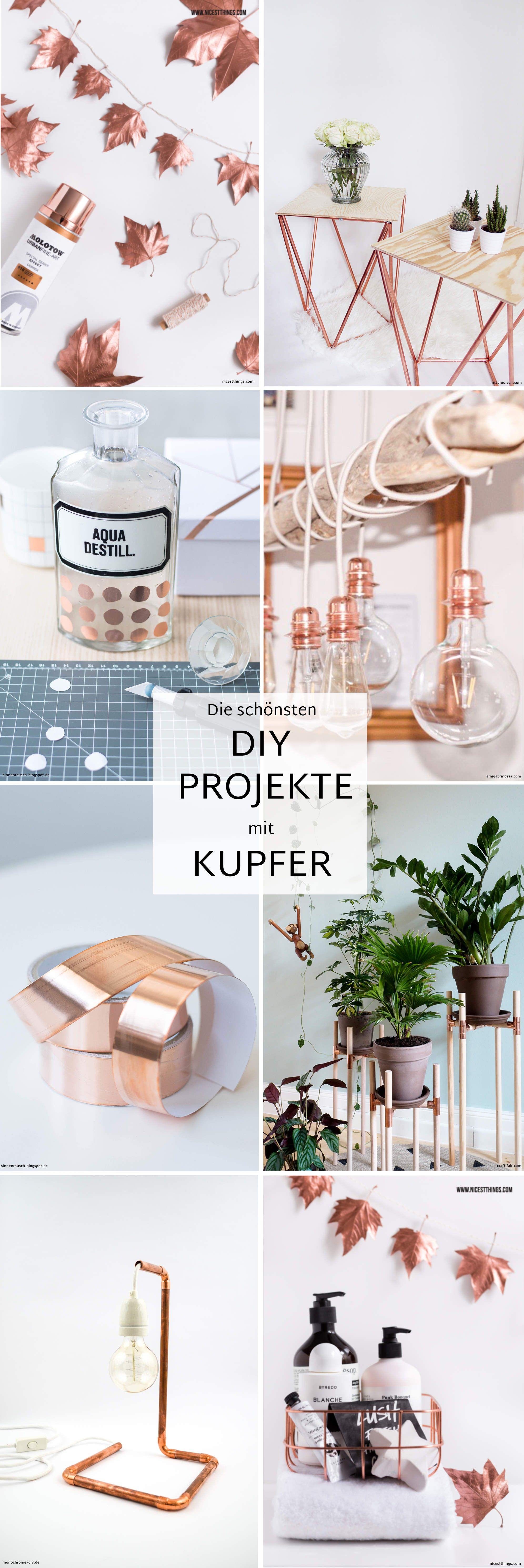 die sch nsten diy projekte mit kupfer kupfer deko diy anleitungen und kupfer. Black Bedroom Furniture Sets. Home Design Ideas