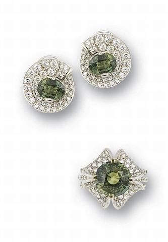 A green sapphire and diamond ring and earring suite