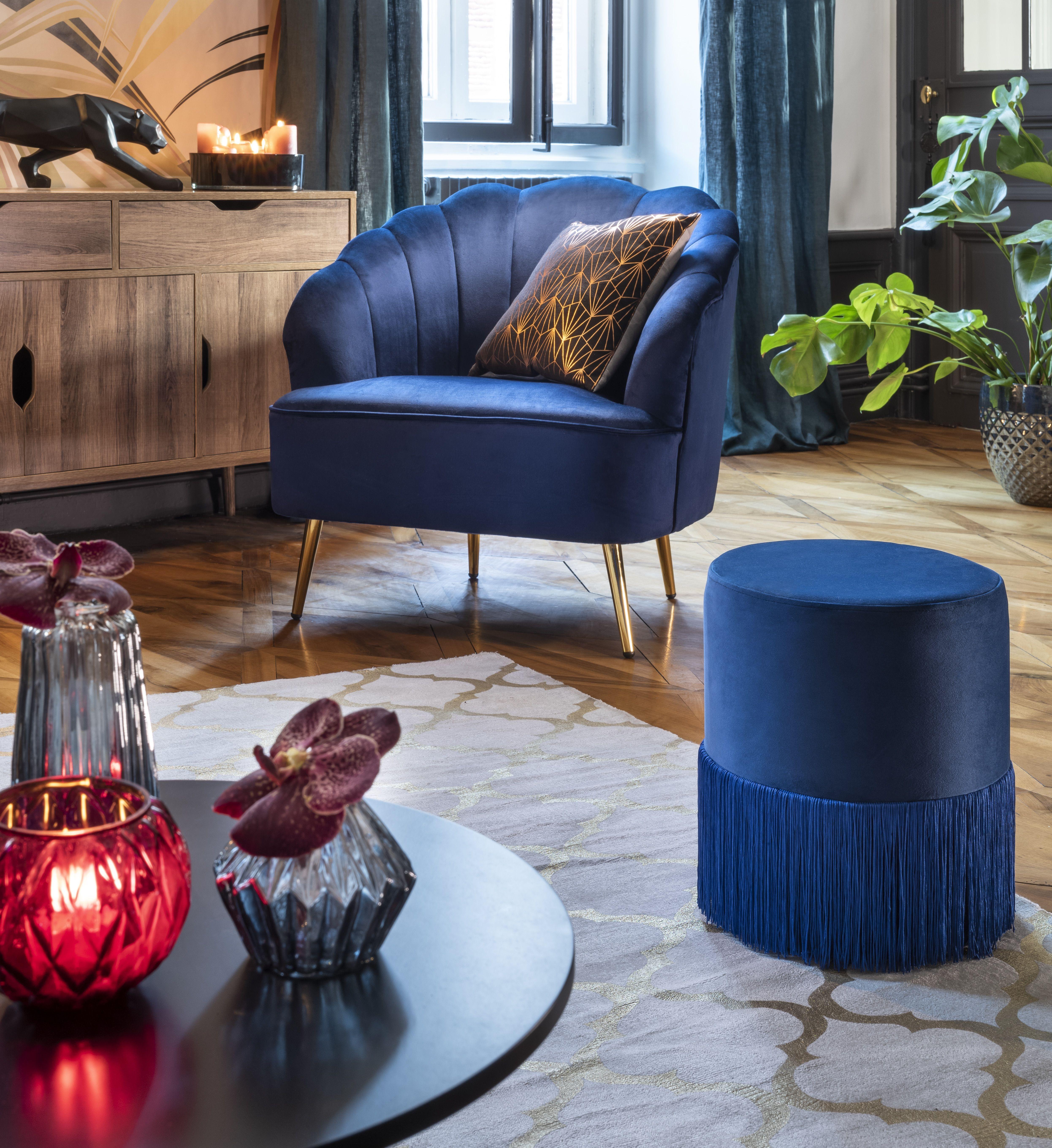 Fauteuil Arielle Velours Bleu Nuit Et Dore Fauteuil Salon Meuble Gifi Meuble Gifi Bleu Nuit Table De Nuit