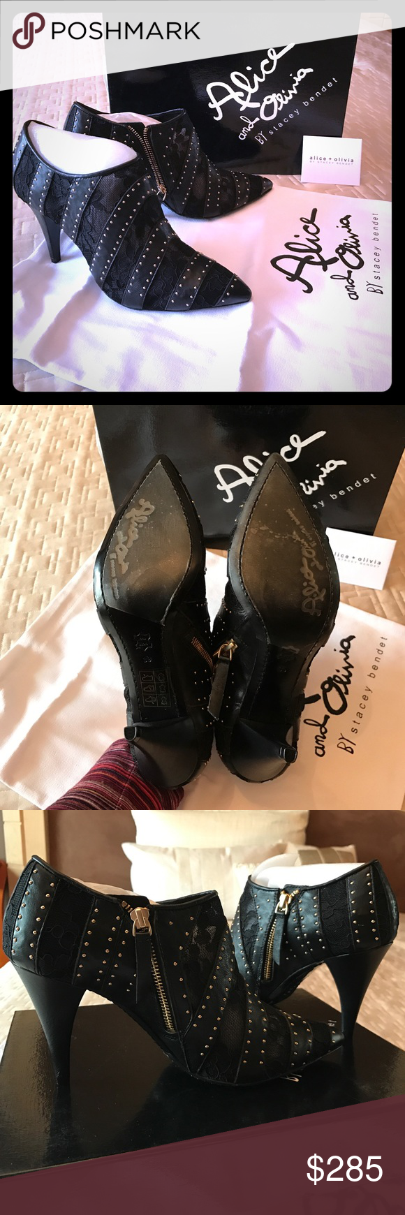 New Alice + Olivia booties Calissa  Floral Lace & Leather Booties   Brand new   Bought on final sale so can't return it. Come in a box with all papers and dust bag Alice + Olivia Shoes