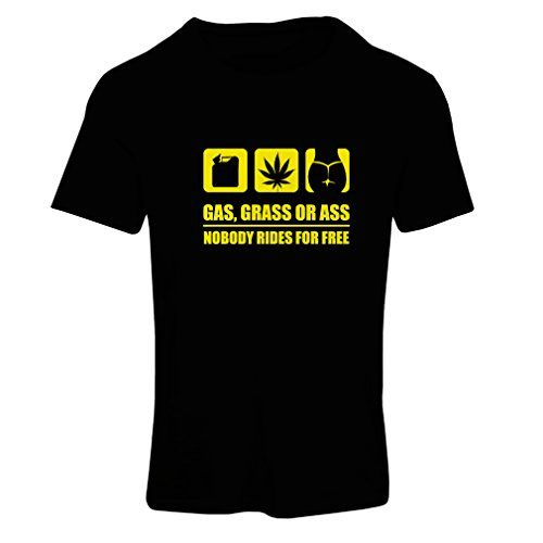 N4160F Camiseta mujer Gas, Grass or Ass funny gift (Large Negro Amarillo) #camiseta #realidadaumentada #ideas #regalo