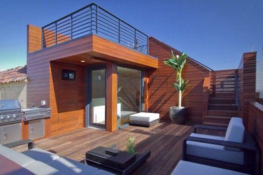 キッチンとbbqグリル付き サイコーに贅沢な屋上のテラスの屋外リビングスペース 屋上パティオ テラス 屋上テラス