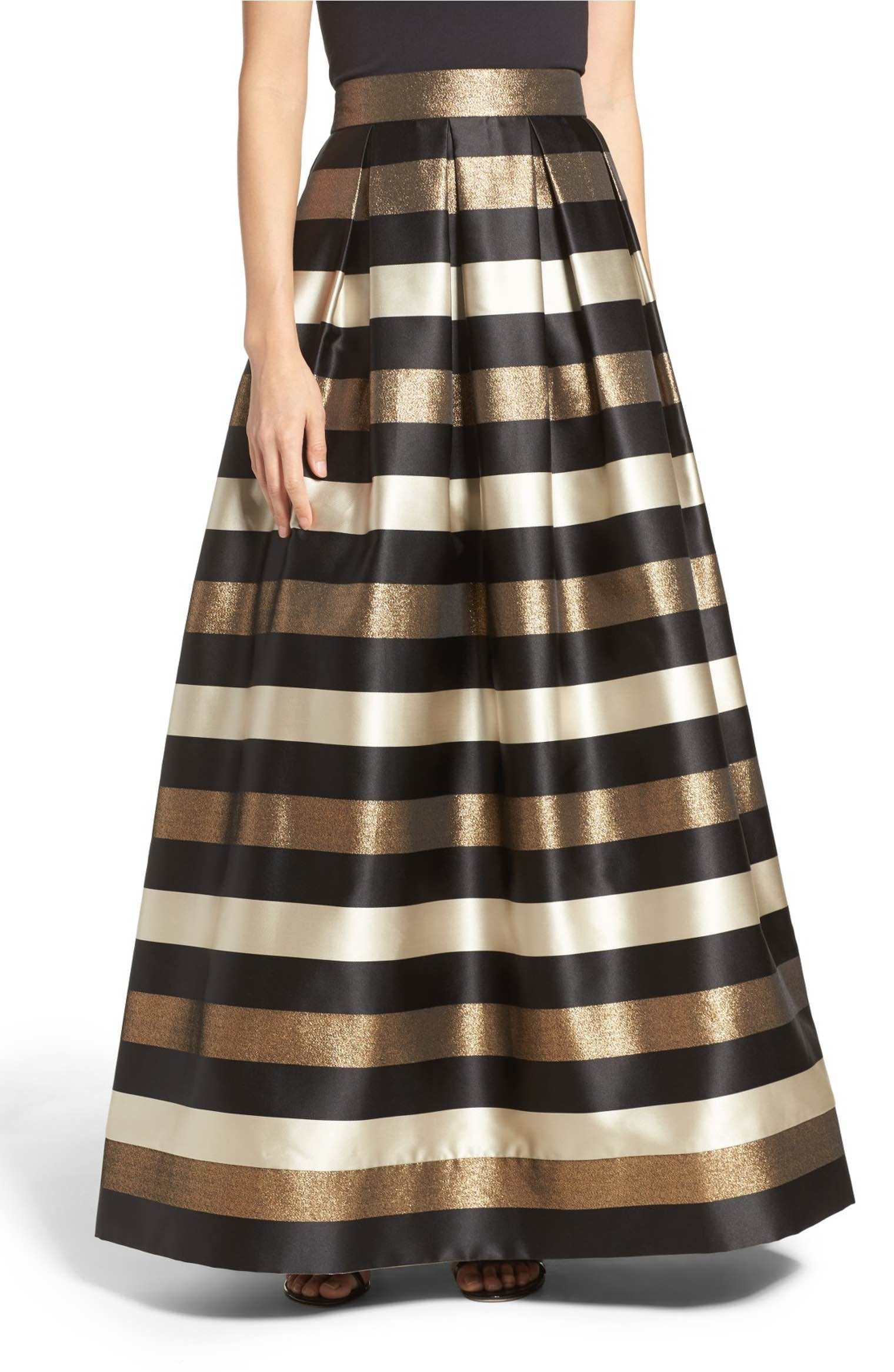 Main image eliza j metallic stripe ball skirt get the look
