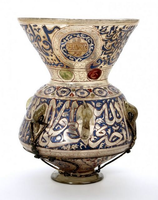 Damascus Umayyad lantern with Arabic calligraphy.