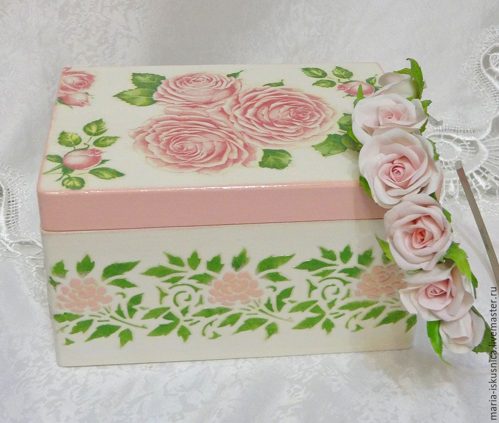 """Купить Шкатулка """"Розовые розы"""" - розовый, нежно-розовый, шкатулка, шкатулка для украшений, шкатулка декупаж"""