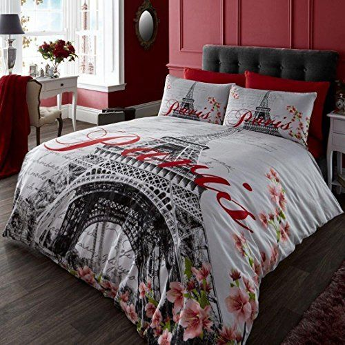Classic Red, Black And White Eiffel Tower, (UK Double/USA Full ... : eiffel tower quilt cover - Adamdwight.com