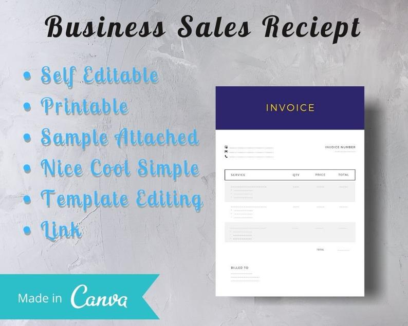 Dark Blue Invoice With Golden Text Business Sales Invoice Etsy Printable Invoice Business Sales Invoice Sample