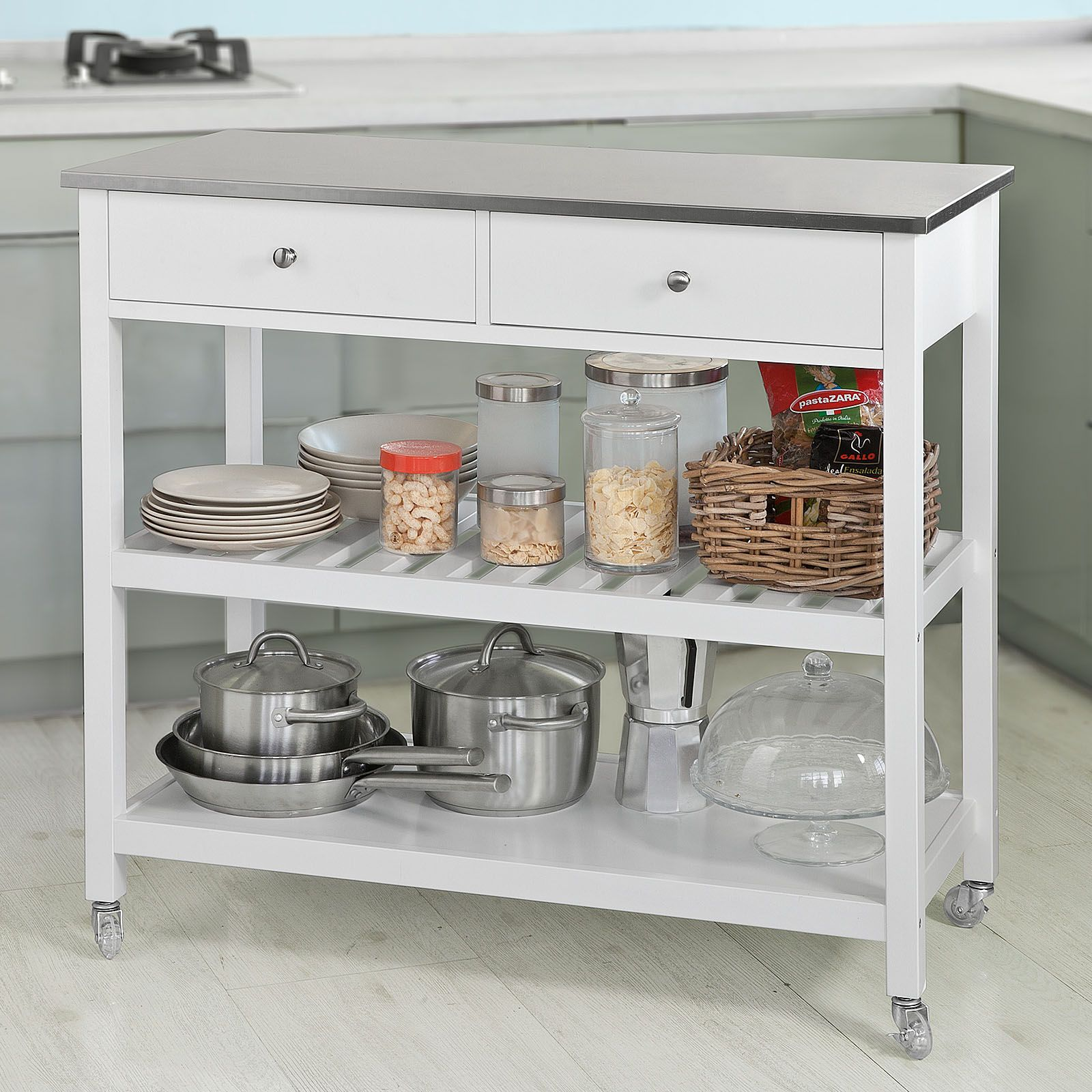 2019 的 Carrello Cucina Credenza Cucina Mobile Cucina Bianco ...