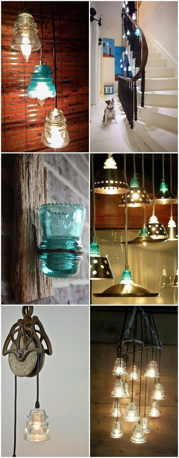 Upcycling ideas with glass insulators home and garden