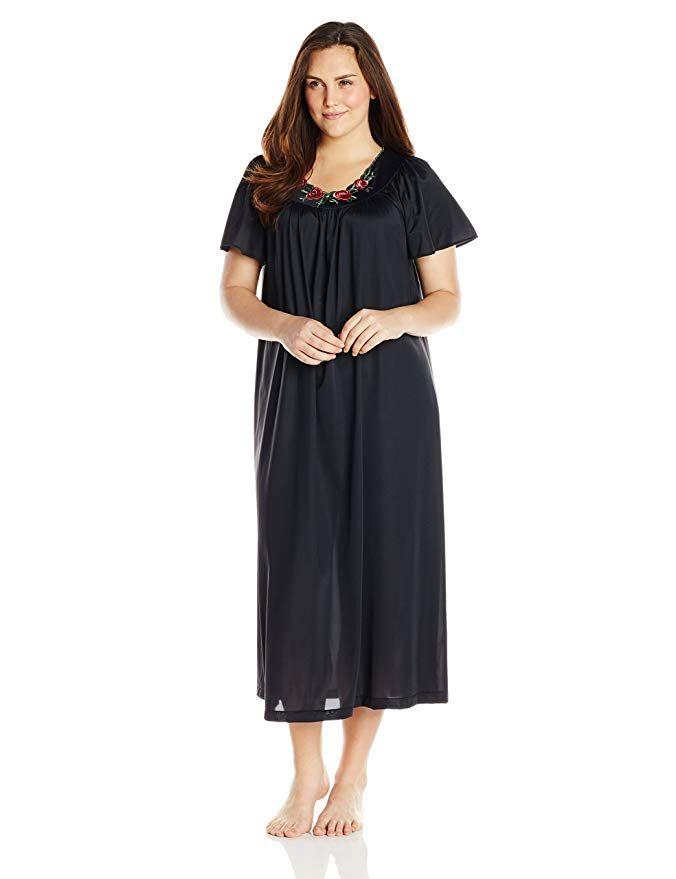 a9e60efe96208 Shadowline Women s Plus-Size Petals 53 Inch Short Flutter Sleeve Long Gown  at Amazon Women s