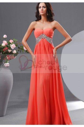 1f88a69c817 Solde d été robe de soirée longue en mousseline couleur corail avec  ceinture de strass 3333