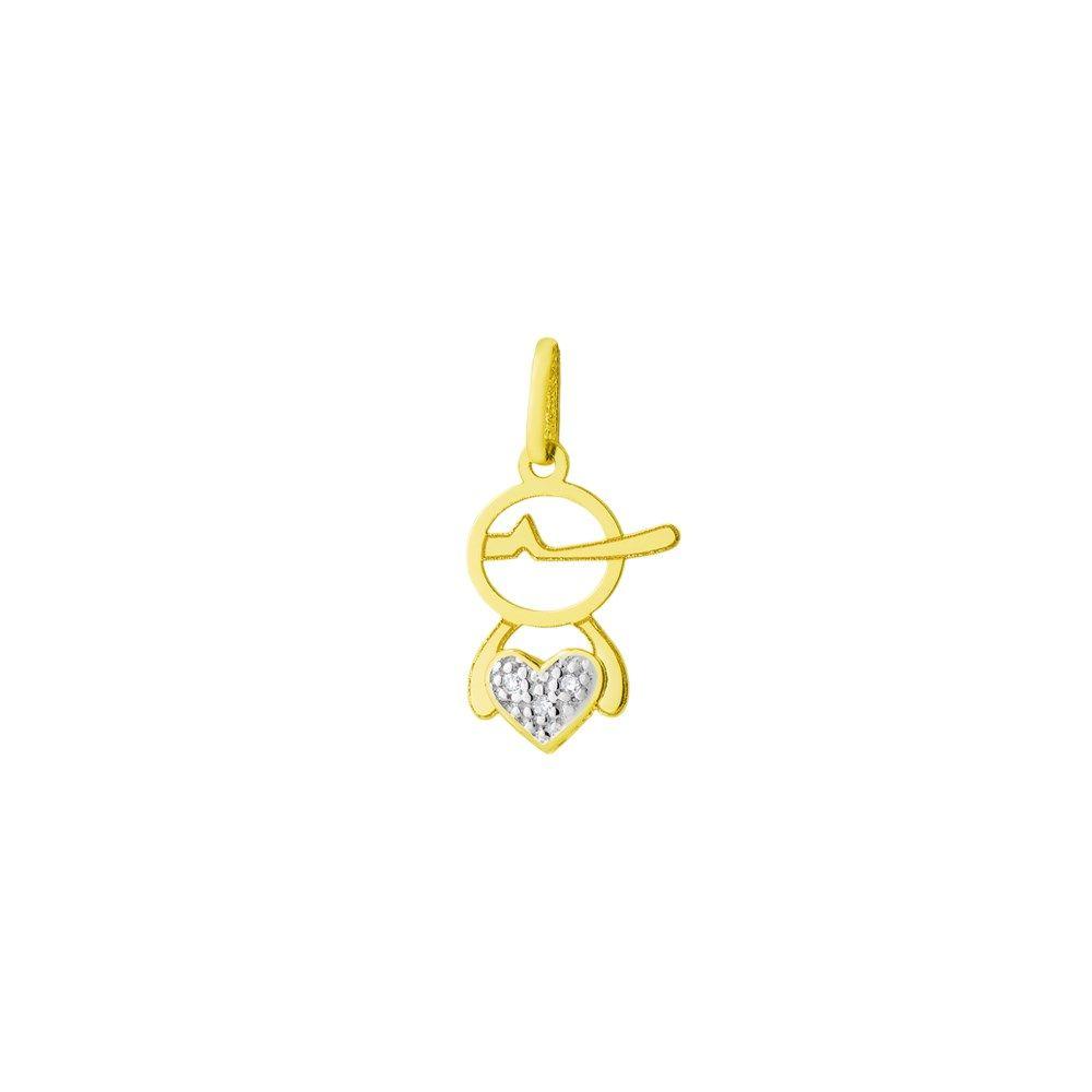 2e431c3f322 Pingente em Ouro 18k Menino Vazado com Diamantes no Coração.  joia  ouro   jewelry  pingente  menino  diamante