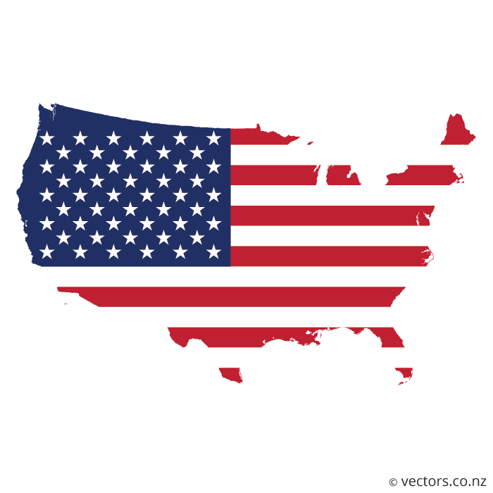 Flag Vector Map Of The Usa In 2020 Map Vector Flag Vector Flag