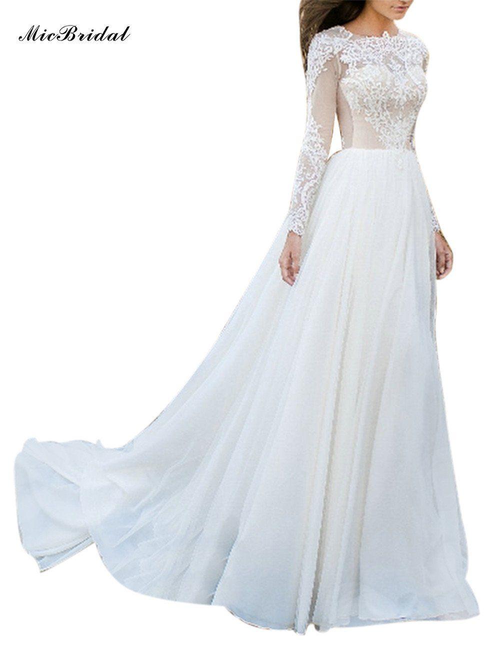 Micbridal Simple Long Sleeve Muslim Wedding Dress Long Train White Chiffon Bridalgowns Merm Long Train Wedding Dress Wedding Dresses Wedding Dress Necklines [ 1300 x 1000 Pixel ]
