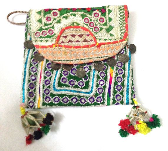 Beautiful Vintage Banjara clutch bag ethnic gypsy tribal bohemian multi patchwork embroidery vintage coins on Etsy, US$ 69.00