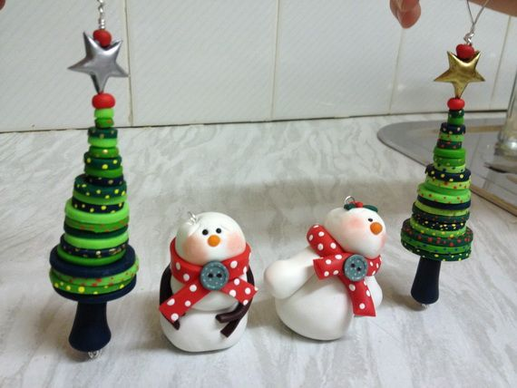 Polymer Clay Christmas Village.Handmade Polymer Clay Christmas Ornament Crafts For Holidays
