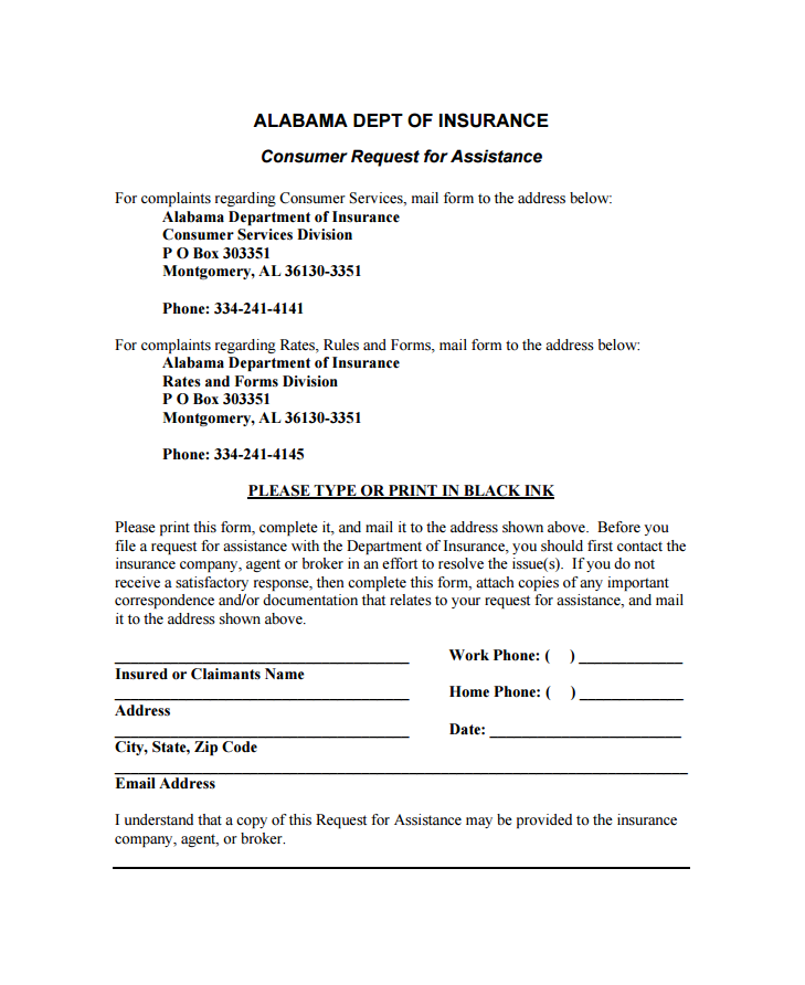 InsuranceCommissionerComplaintsByStateAlabamaPartOf