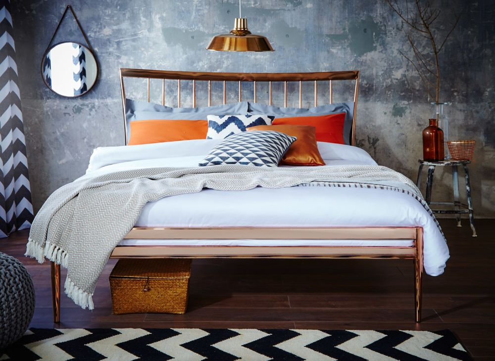 Blake Copper Metal Bed Frame Copper metal Metal beds and Bed frames