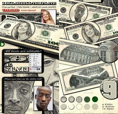 Dollar Bill Template Front And Back Resources Photoshop