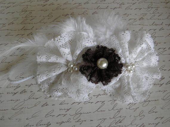 lace flower headband with feathers by Yuliyasboutique on Etsy, $7.00