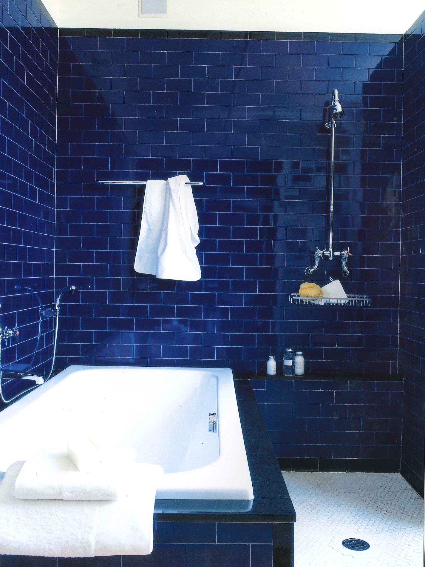 Dark blue bathroom designs - Cobalt Subway Tiles