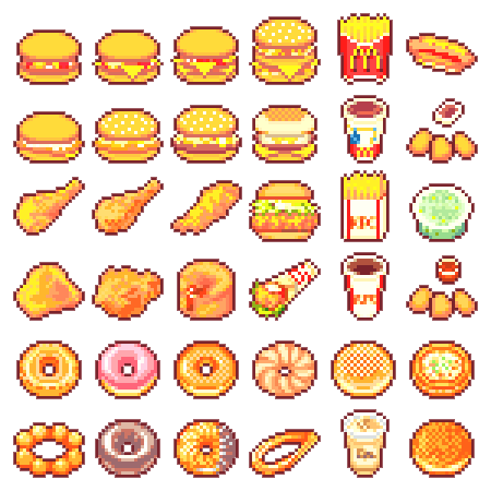 Fast Food Pixels Pixel Kawaii Pixel Art Nourriture Et