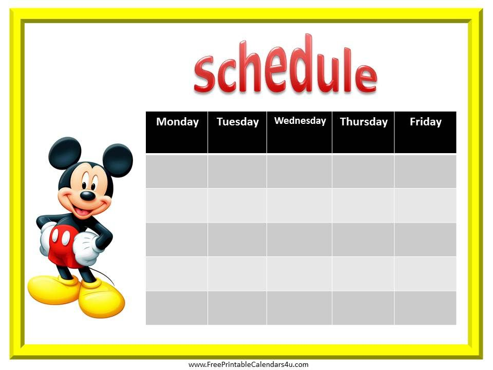 Mickey Mouse free weekly calendar printable Weekly Calendar for - free weekly calendar