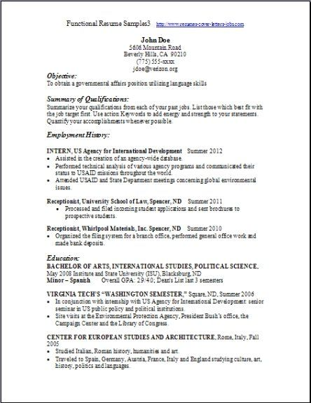 Functional Resume Template Free -   wwwresumecareerinfo - Functional Resumes Template