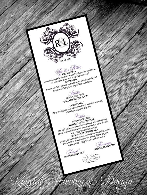 Custom Couples Monogram Royal Purple Glow Wedding Menus Sample
