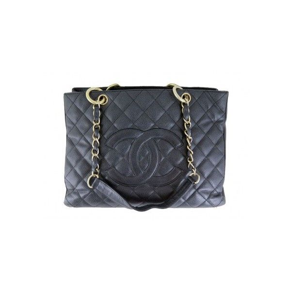 Chanel GST Jumbo Black Caviar Grand Shopping Tote Bag Purse ($2,199) ❤ liked on Polyvore featuring bags, handbags, tote bags, leather handbags, chanel tote bag, chanel purses, black tote bag and genuine leather tote