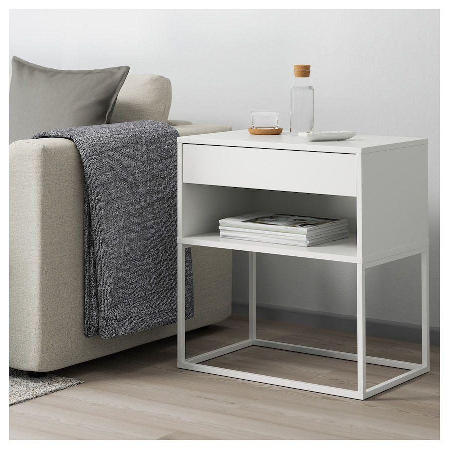 IKEA VIKHAMMER White Nightstand White nightstand, Ikea