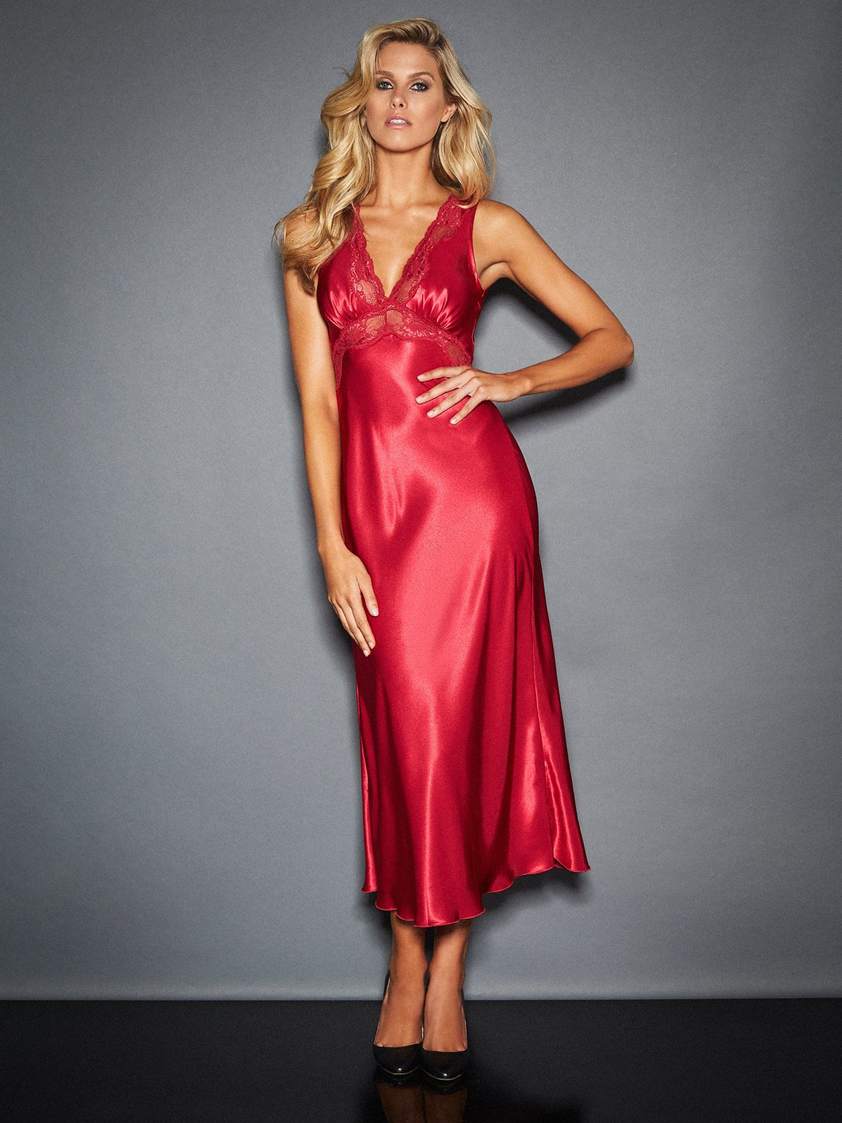Drape yourself in glamour in the Nicole Satin And Lace Long Gown ...