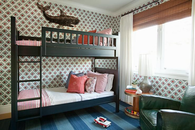 Best Fun Shared Boys Bedroom Features Walls Clad In Red And 640 x 480
