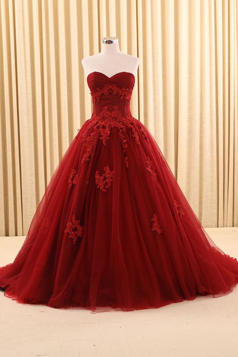 Vintage burgundy prom formal wedding gowns sweetheart applique