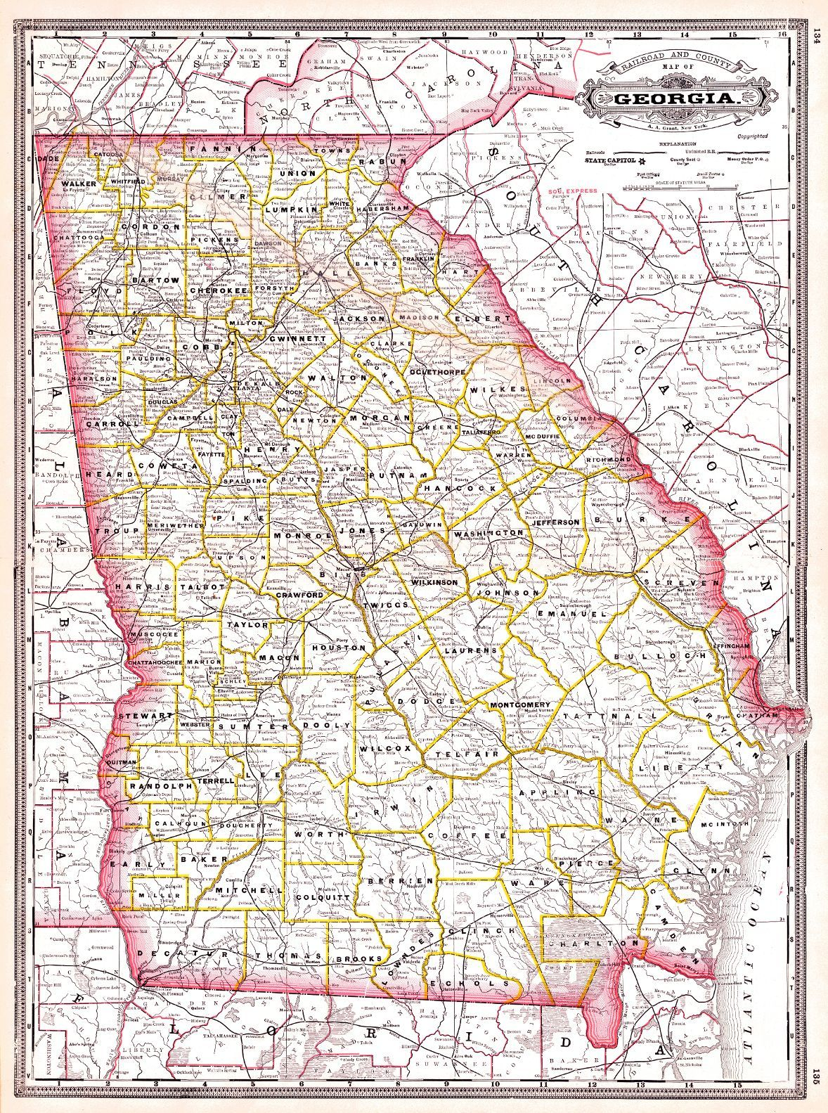 Map Antique Railroad And County Map Of Georgia AA Grant From - County map of georgia
