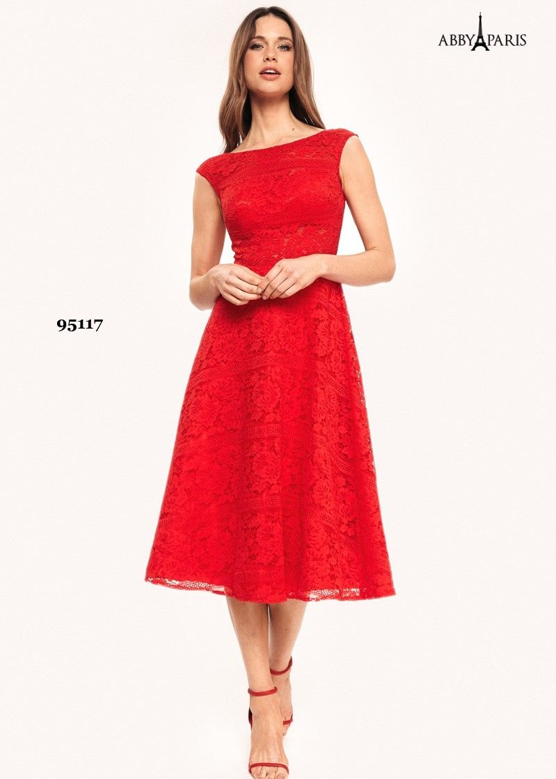 Abby Paris 95117 Lace Tea Length Gown With Cap Sleeves  5ef0ca5ecae5