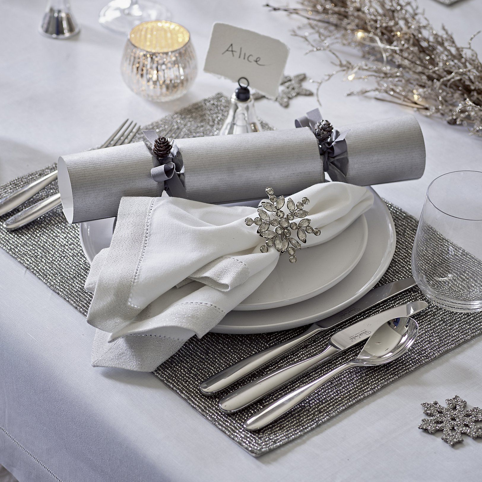 Silver Beaded Placemats Set of 2 Tableware Dining