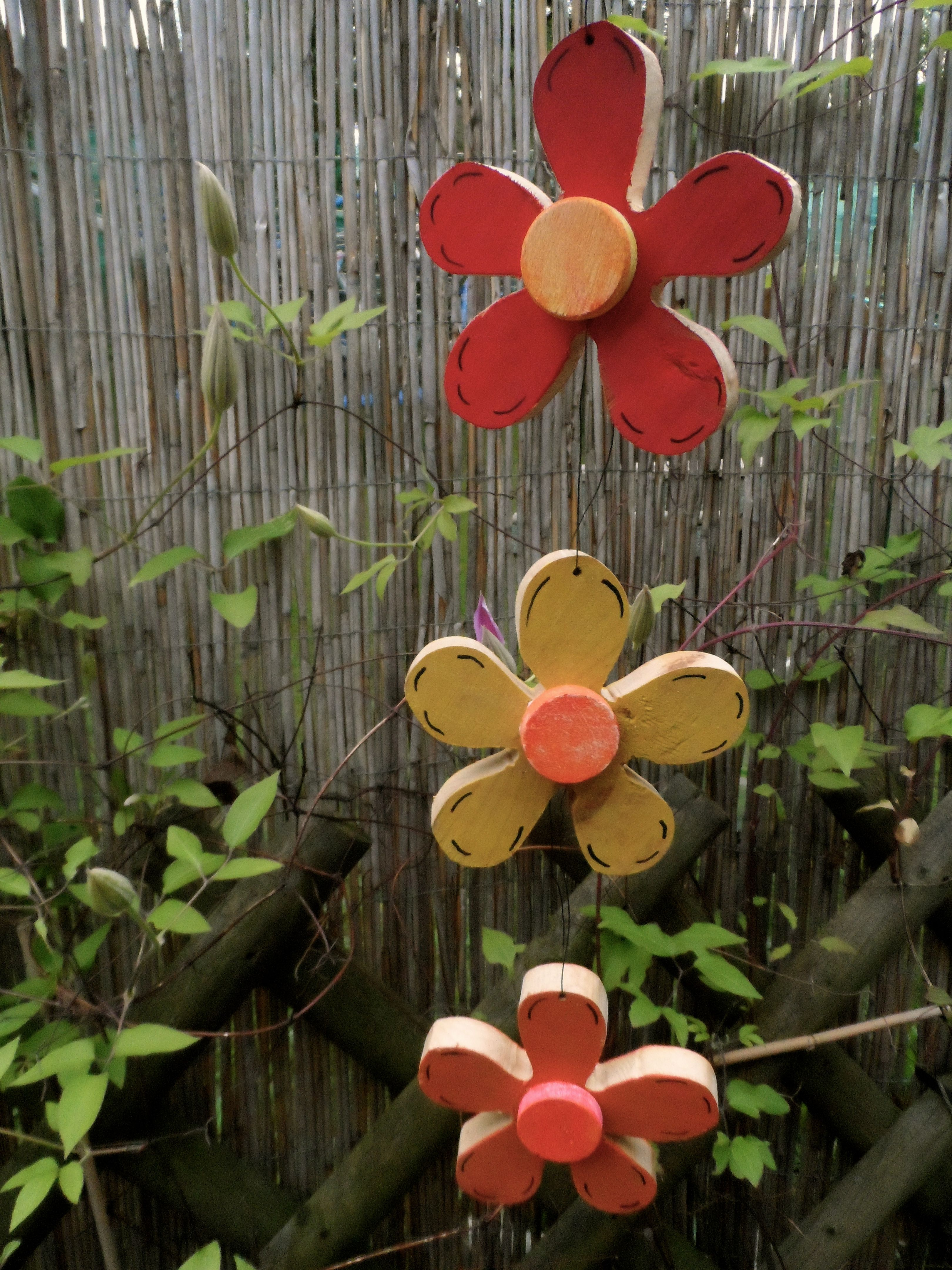 Wooden Flowers On The Walls The Kids Can Paint These