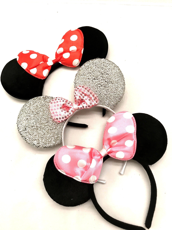 Red Mickey Headband Mickey Mouse Pink polka Dot  Mickey Ears Red Mickey Mouse Ears Red Mickey Mouse Birthday Red Minnie Mouse Ears Red