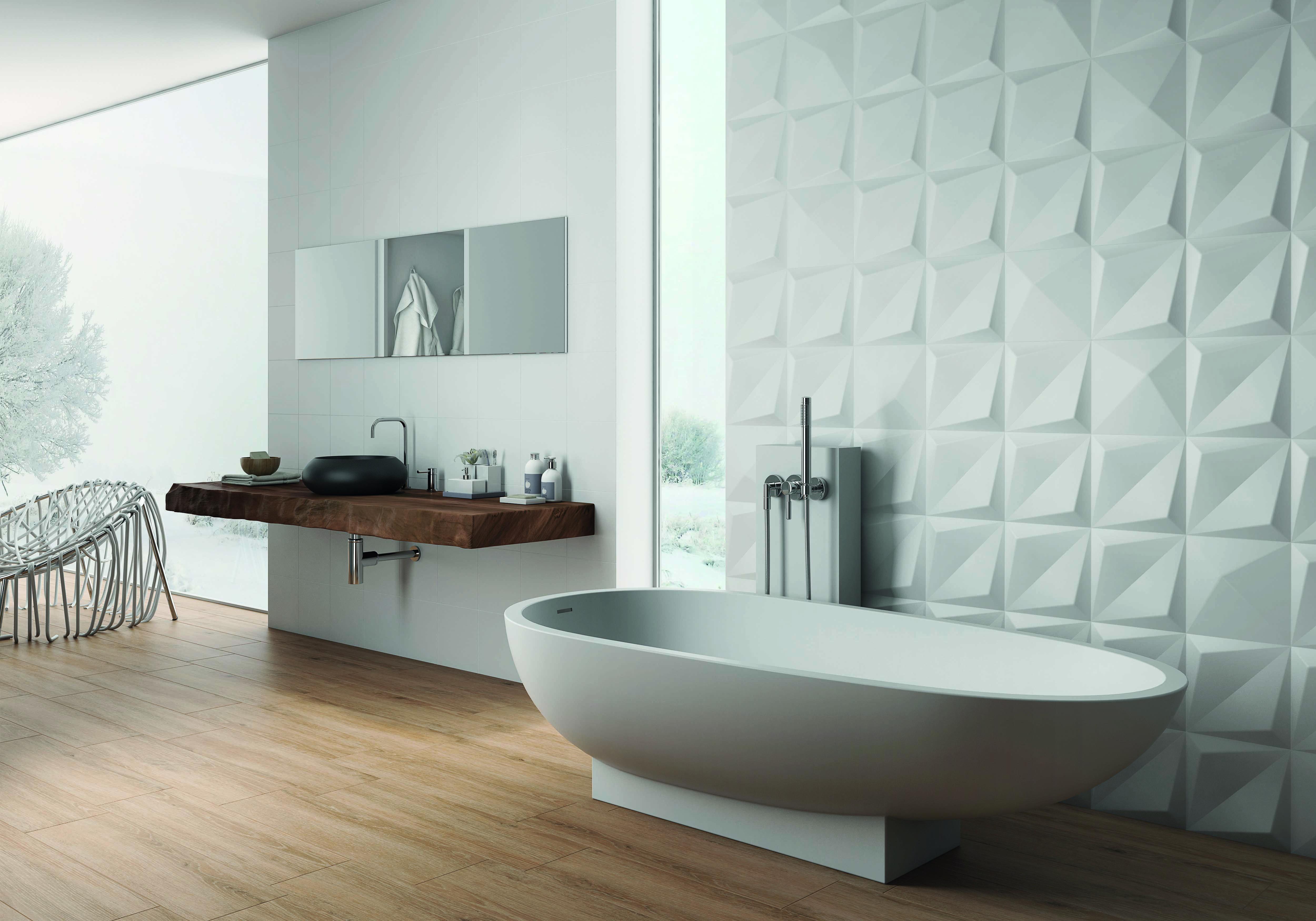 du wall shapes origami white matt25x25cm  white bathroom
