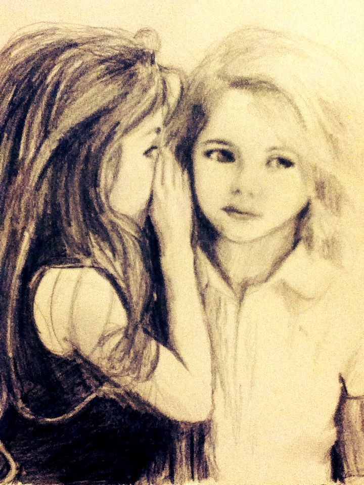 Cousins are the best of friends pencil drawing by emma lane