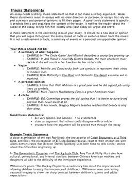 How To Write Thesis Statements Handout Thesis Statement Writing A Thesis Statement Essay Writing Skills