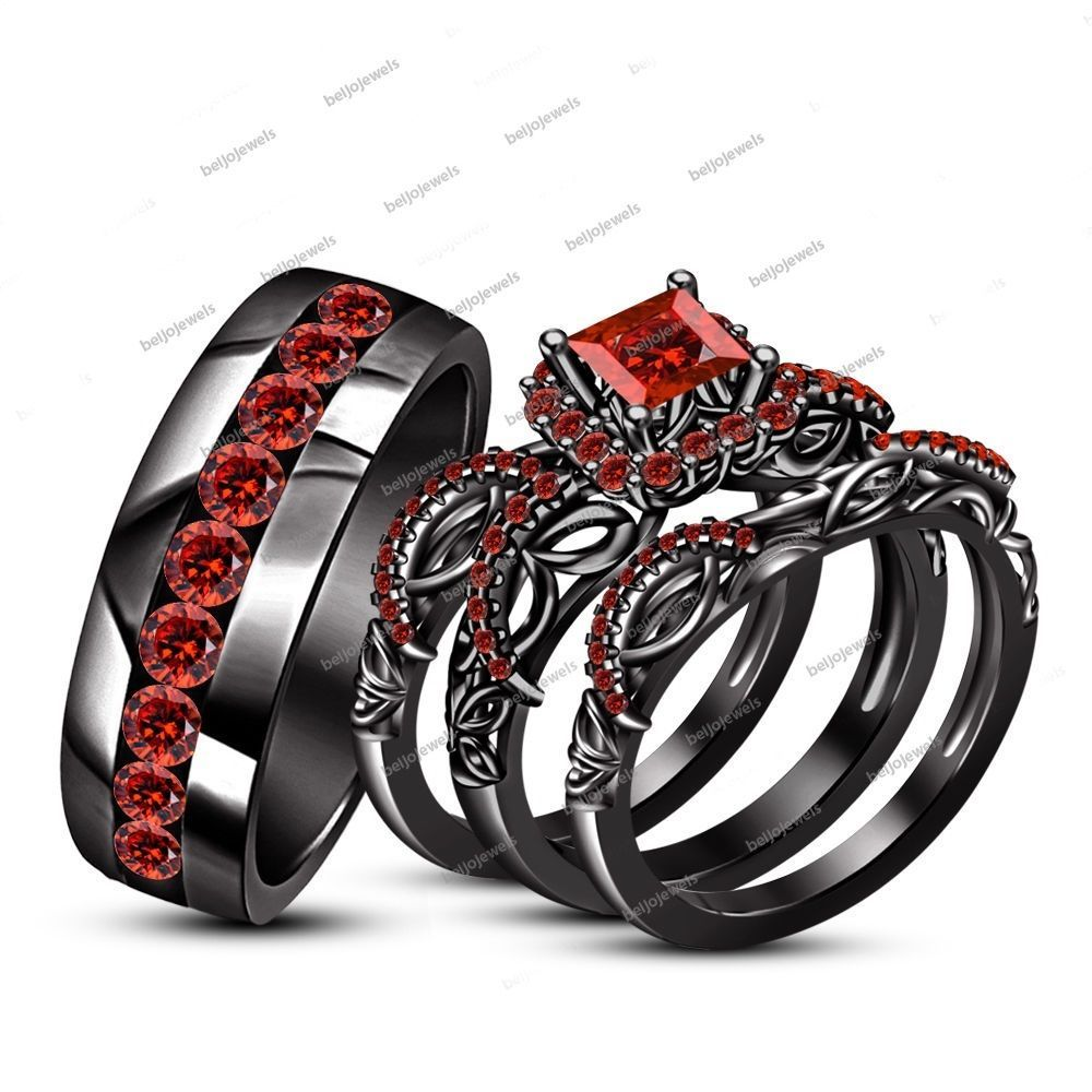 925 Silver Princess cut Red Garnet Wedding 4Piece Bride Groom