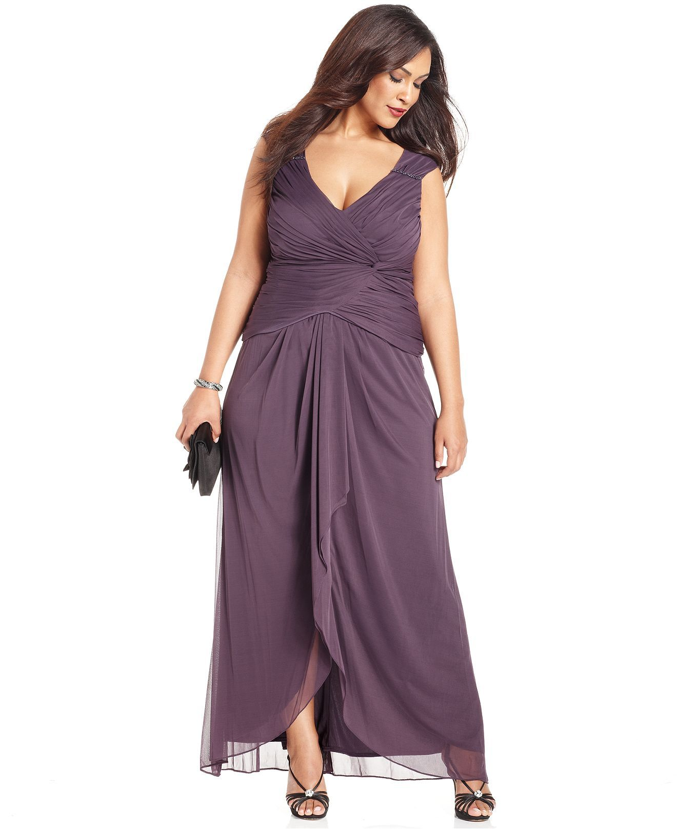 Patra Plus Size Dress, Sleeveless Ruched Gown - Plus Size ...