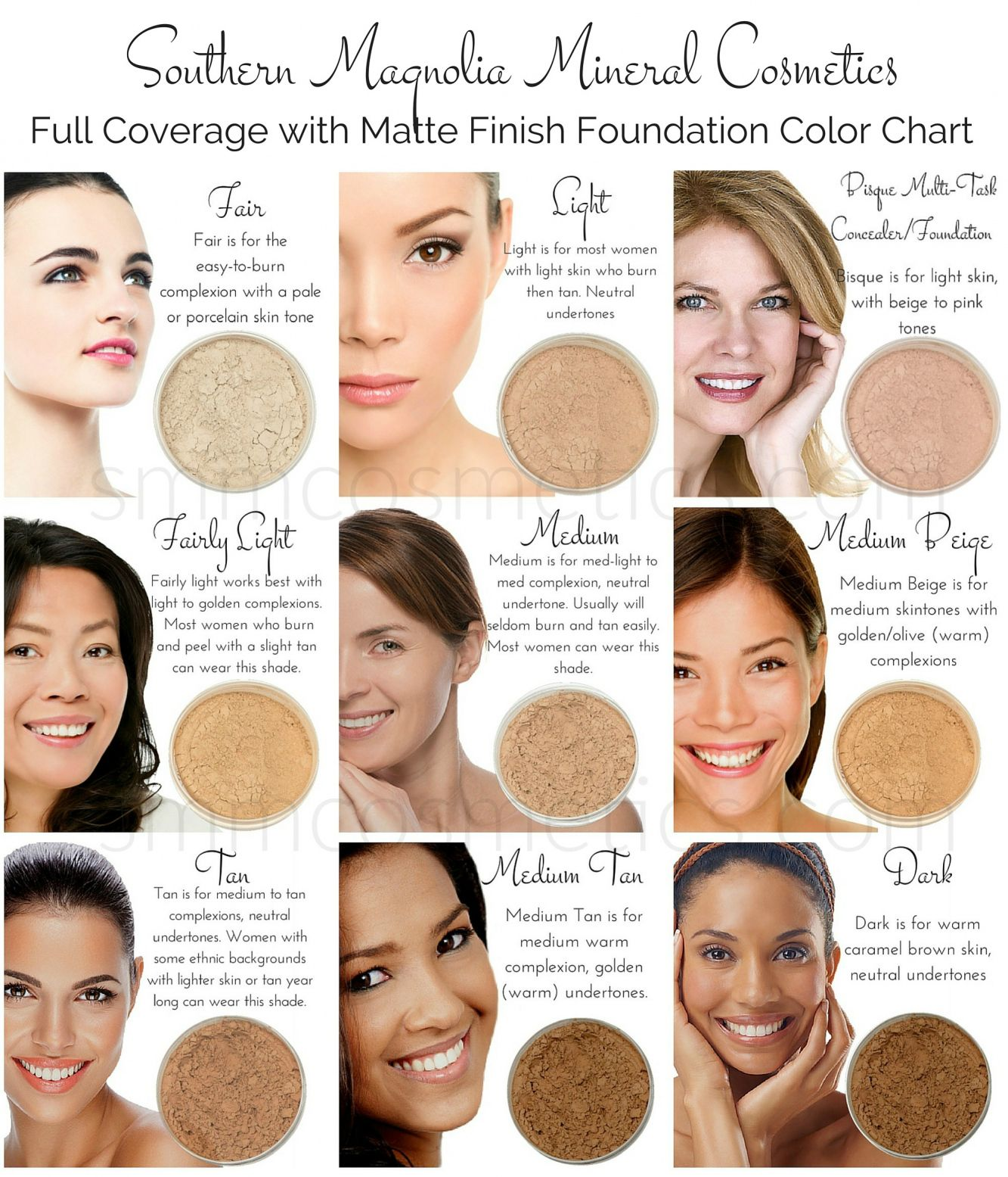 Hair Color Chart for Warm Skin tones